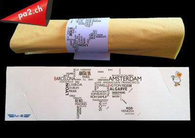 Rond de serviette en carton imprimé et découpé. Réalisé par Pa2.ch