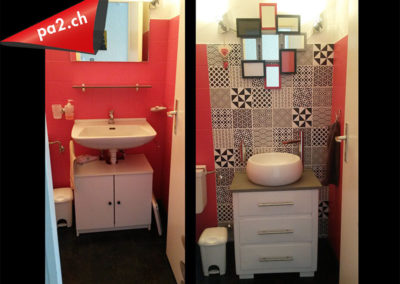 Image avant-après d'un lavabo avec un mur en carrelage rouge recouvert de vinyle décoratif noir-blanc. Réalisé par Pa2.ch